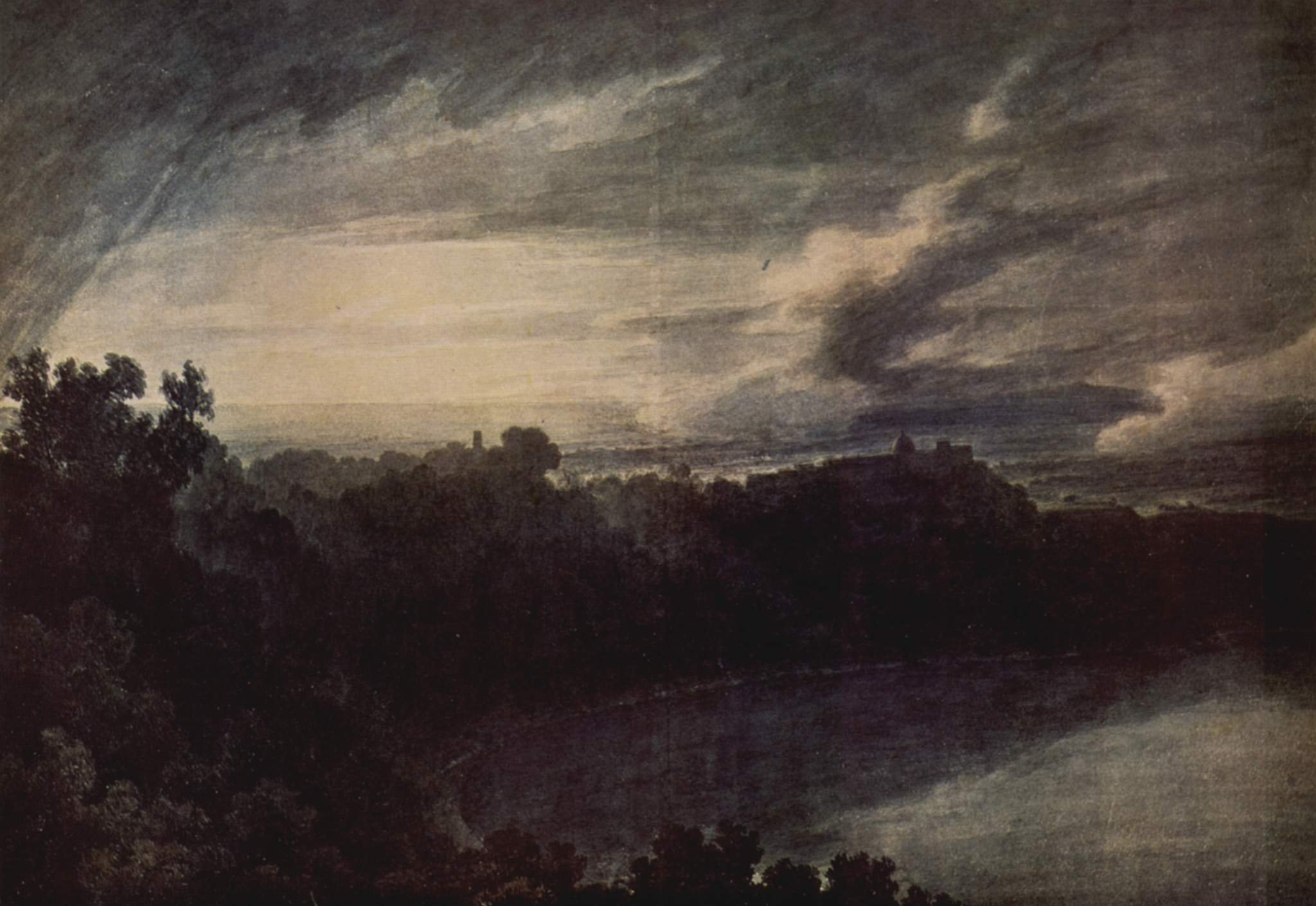 Cozens--Lake-of-Albano-and-Castle-Gandolfo-at-sunset